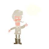 alter Mann der Karikatur in der schlechten Kleidung mit Gedankenblase Stockbild