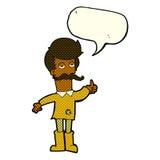 alter Mann der Karikatur in der schlechten Kleidung mit Spracheblase Lizenzfreies Stockbild