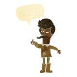 alter Mann der Karikatur in der schlechten Kleidung mit Spracheblase Stockfoto