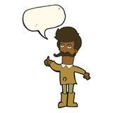 alter Mann der Karikatur in der schlechten Kleidung mit Spracheblase Lizenzfreie Stockbilder