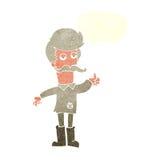 alter Mann der Karikatur in der schlechten Kleidung mit Spracheblase Stockfotografie