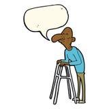 alter Mann der Karikatur mit gehendem Rahmen mit Spracheblase Stockbild