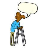 alter Mann der Karikatur mit gehendem Rahmen mit Spracheblase Stockfoto
