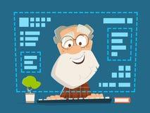 Alter Mann, der on-line-Bildung des vorderen Computermonitors sitzt Stockbilder
