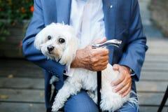 Alter Mann, der lustigen Hund in seinen Armen trägt Stockfotografie