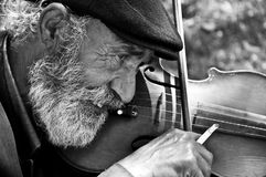 Alter Mann, der Violine spielt Stockbilder