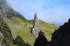 Alter Mann des Storr-Berggipfel-Felsens stockfoto