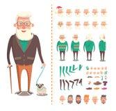 Alter Mann-Erbauer, Großvater mit Toy Dog stock abbildung