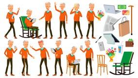 Alter Mann-Haltungen eingestellter Vektor Asiatisch Ältere Menschen Ältere Person gealtert Positiver Pensionär Werbung, Plakat, D vektor abbildung