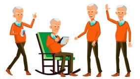 Alter Mann-Haltungen eingestellter Vektor Asiatisch, chinesisch, japanisch Ältere Menschen Ältere Person gealtert Freundlicher Gr stock abbildung