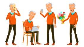 Alter Mann-Haltungen eingestellter Vektor Asiatisch, japanisch, vietnamesisch Ältere Menschen Ältere Person gealtert Kaukasischer stock abbildung