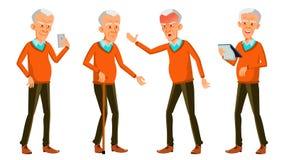 Alter Mann-Haltungen eingestellter Vektor Asiatisch, koreanisch, chinesisch Ältere Menschen Ältere Person gealtert Lustiger Pensi lizenzfreie abbildung