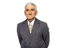 Alter Mann lokalisiert auf Weiß Stockbild