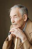 Alter Mann mit den Schnurrbärten Stockfotografie