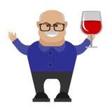 alter Mann mit einem Glas Wein Stockbild