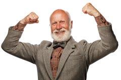 Alter Mann mit einem großen Bart und einem Lächeln Stockbild