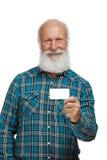 Alter Mann mit einem langes Bart wiith großen Lächeln Stockfotografie