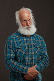 Alter Mann mit einem langes Bart wiith großen Lächeln Lizenzfreie Stockbilder