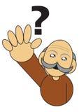 Alter Mann mit einer Fragenabbildung Stockfotografie