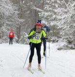 Alter Mann mit großem grauem Bartcross country-Skifahren Lizenzfreie Stockbilder