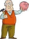 Alter Mann mit Sparschwein Stockbild