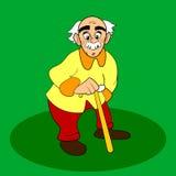 Alter Mann mit walkins Stock Vektorkarikatur oder -Comicfigur auf grünem Hintergrund Weißes graues Haar und Schnurrbart Stockfotografie