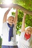 Alter Mann und Frau, die Sport in der Natur tut Stockfotografie