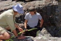 Alter Mann unterstützt jungen Bergsteiger Stockbild