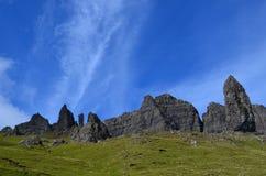 Alter Mann von Storr-Felsformationen in Schottland stockbilder