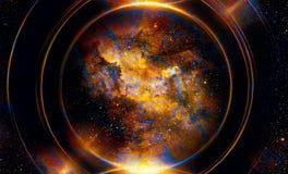 Alter Mayakalender, kosmischer Raum und Sterne, abstrakter Farbehintergrund, Computercollage Lizenzfreies Stockfoto