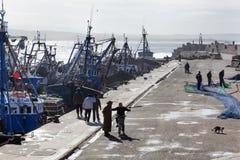 Alter Nostalgiehafen von Essaouira in Marokko lizenzfreies stockfoto