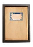 Alter Papierbeschaffenheitshintergrund mit blauen Verzierungen im Holzrahmen Lizenzfreies Stockfoto
