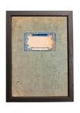 Alter Papierbeschaffenheitshintergrund mit blauen Verzierungen im Holzrahmen Stockbilder