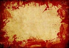 Alter Papierhintergrund mit rotem Blutspritzen Stockfoto