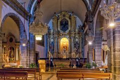 The Church of San Juan Bautista, Deia, Mallorca. The alter of the parish Church of Saint John the Baptist - Iglesia de San Juan Bautista, in Deia, Mallorca The Royalty Free Stock Photo