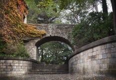 Alter Park in Gerona (Spanien), Herbst, November Stockfotos