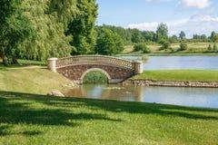 Alter Park mit Brücke und Insel lizenzfreie stockbilder