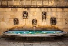 Alter Parkbrunnen in der Mitte von Luxemburg Stockfotografie