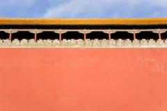 Alter Pavillion und rote Wand der verbotenen Stadt Stockfotos