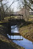 Alter Penstock, im allgemeinen Park, mit Schloss Liebling, Foerch stockfotografie