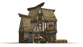 Alter Pferdestall und Pferde - lokalisiert auf weißem Hintergrund Stockbild