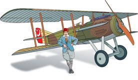 Alter Pilot mit SpadXIII Stockfoto