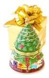 Alter PorzellanWeihnachtsbaum mit Geschenkkasten Stockbilder