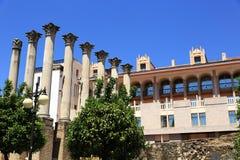 Alter römischer Tempel Templo De Culto Imperial in Cordoba, Andalusien, Spanien Lizenzfreies Stockfoto
