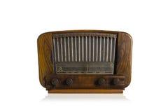 Alter Radio auf weißem Hintergrund Stockbilder