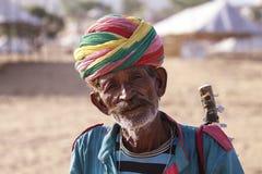 Alter Rajasthani-Mann mit Turban Festival-Pushkar Lizenzfreies Stockbild