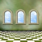 Alter Raum, grunge Innenraum mit Fenstern Stockfotografie
