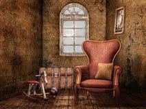 Alter Raum mit Weinlesespielwaren Stockbild