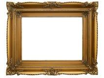 Alter Retro- Brown-Bilderrahmen auf weißem Hintergrund Stockfotografie
