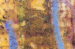 Alter rostiger abstrakter blauer und orange Hintergrund Stockbild
